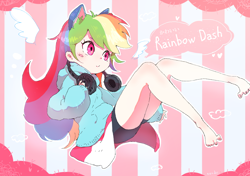Size: 1280x900 | Tagged: safe, artist:nendo, rainbow dash, human, barefoot, blushing, cat ears, clothes, compression shorts, cute, dashabetes, feet, female, headphones, hoodie, humanized, japanese, legs, nendo is trying to murder us, pullover, skirt, smiling, solo, striped background, wiggling toes