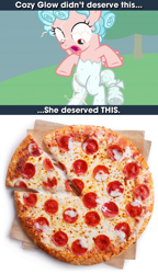 Size: 1204x2084   Tagged: safe, edit, edited screencap, screencap, cozy glow, pegasus, pony, the ending of the end, a better ending for cozy, cheese pizza, cozy deserved this, discussion in the comments, female, filly, food, petrification, pizza