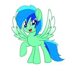 Size: 1500x1500 | Tagged: safe, artist:jadebreeze115, oc, oc:jade breeze, pegasus, 2021 community collab, derpibooru community collaboration, artist, blue eyes, colored wings, gradient wings, male, newbie artist training grounds, simple background, smiling, smiling at you, stallion, transparent background, wings