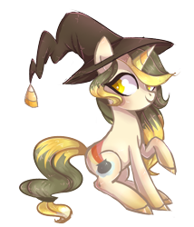 Size: 1017x1187 | Tagged: safe, artist:misspinka, oc, oc:candy plot, pony, unicorn, female, hat, mare, simple background, solo, transparent background, witch hat