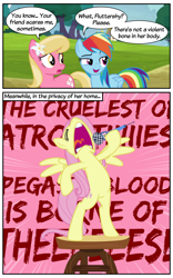 Size: 750x1200 | Tagged: safe, artist:roseluck, edit, edited screencap, editor:roseluck, screencap, fluttershy, lily, lily valley, rainbow dash, earth pony, pegasus, pony, 2 panel comic, bipedal, colored, comic, dialogue, eyes closed, female, flat colors, flower, flower in hair, flutterscream, globus, inkscape, lily (flower), mare, microphone, outdoors, raised eyebrow, screaming, show accurate, singing, song reference, speech bubble, speed lines, spread wings, standing, table, trio, trio female, vector, volumetric mouth, wings, worried
