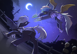 Size: 3508x2480 | Tagged: safe, artist:underpable, oc, oc only, bat pony, armor, bat pony oc, bat wings, commission, crescent moon, duo, flying, high res, metal claws, moon, night, night sky, sky, stars, town, training, wings