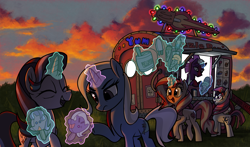 Size: 2912x1714   Tagged: safe, artist:docwario, fizzlepop berrytwist, moondancer, starlight glimmer, sunset shimmer, tempest shadow, trixie, pony, unicorn, broken horn, christmas, christmas lights, cloud, eyes closed, food, glasses, glowing horn, grass, holiday, horn, ice cream, levitation, magic, open mouth, raised hoof, reformed unicorn meeting, sky, sunset, telekinesis