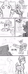 Size: 2315x6032 | Tagged: safe, artist:selenophile, oc, oc only, oc:ventura, gpu pony, pony, robot, robot pony, :p, angry, bipedal, bipedal leaning, bucking, chair, comic, cross-popping veins, cute, desk, dialogue, eyes closed, female, frown, glare, kicking, leaning, madorable, mare, ocbetes, silly, smiling, text, tongue out, underhoof