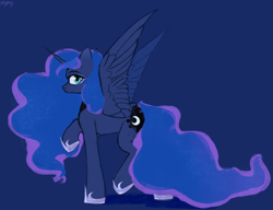 Size: 3048x2343 | Tagged: safe, artist:laymy, princess luna, alicorn, pony, blue background, butt, cute, female, looking at you, mare, moonbutt, profile, raised hoof, simple background, solo