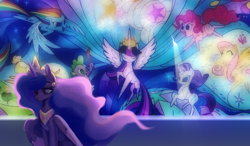 Size: 3288x1920 | Tagged: safe, artist:laymy, applejack, fluttershy, pinkie pie, rainbow dash, rarity, spike, twilight sparkle, alicorn, dragon, earth pony, pegasus, unicorn, the last problem, female, immortality blues, male, mane seven, mane six, mural, older, older twilight, princess twilight 2.0, sad, solo, stained glass, twilight sparkle (alicorn)