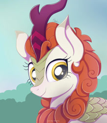 Size: 1024x1174 | Tagged: safe, artist:nnaly, autumn blaze, kirin, awwtumn blaze, bust, cute, female, looking at you, mare, portrait, smiling, solo, three quarter view