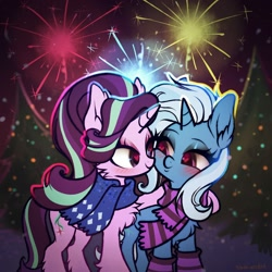 Size: 2000x2000   Tagged: safe, artist:rrd-artist, starlight glimmer, trixie, unicorn, 2021, blushing, chest fluff, clothes, female, fireworks, happy new year, heart eyes, holiday, lesbian, scarf, shipping, startrix, wingding eyes