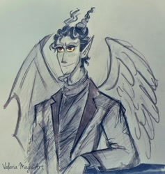 Size: 2951x3115 | Tagged: safe, artist:valeriamagicart, discord, human, horn, horned humanization, humanized, traditional art, winged humanization, wings