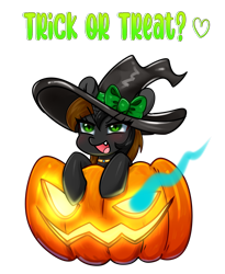 Size: 2179x2653   Tagged: safe, artist:kaikururu, oc, oc only, pony, unicorn, clothes, commission, costume, digital art, female, halloween, halloween costume, hat, holiday, hooves, horn, jack-o-lantern, mare, pumpkin, simple background, solo, text, transparent background, witch hat