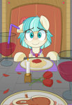 Size: 1328x1925 | Tagged: safe, artist:nignogs, coco pommel, earth pony, pony, 4chan, alcohol, date, food, meat, nervous, pasta, romantic dinner, spaghetti, steak, straw, sweat, sweating profusely, wine