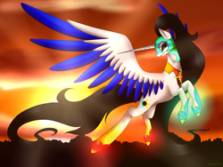 Size: 3200x2400 | Tagged: safe, artist:minelvi, oc, oc only, alicorn, pony, alicorn oc, female, flying, glowing hooves, helmet, horn, mare, solo, two toned wings, wings