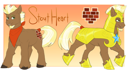 Size: 4800x2667 | Tagged: safe, artist:jeshh, oc, oc:stout heart, earth pony, armor, high res, male, solo, stallion
