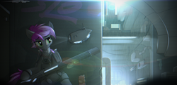 Size: 4451x2160 | Tagged: safe, artist:deafjaeger, oc, oc only, bat pony, pony, armor, bat pony oc, bat wings, blade runner, blaster, city, cityscape, clothes, commission, cyberpunk, drone, front view, futuristic, gun, light, night, ponytail, rain, shadow, sign, sitting, solo, the chronicles of order, two toned mane, weapon, wings