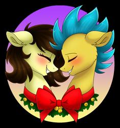 Size: 1024x1090 | Tagged: safe, artist:whitehershey, oc, oc:white hershey, pony, blushing, christmas, eyes closed, female, holiday, male, oc x oc, shipping, straight