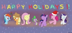 Size: 1024x480 | Tagged: safe, artist:addelum, applejack, fluttershy, pinkie pie, rainbow dash, rarity, spike, twilight sparkle, alicorn, dragon, earth pony, pegasus, unicorn, caroling, christmas, dreidel, female, hanukkah, happy holidays, holiday, implied appledash, implied lesbian, implied shipping, male, mistletoe, singing