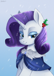 Size: 2894x4093 | Tagged: safe, artist:chickenbrony, rarity, pony, unicorn, clothes, eyeshadow, female, holly, lidded eyes, makeup, mare, smiling, snow, solo