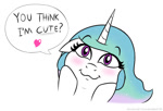 Size: 728x495 | Tagged: safe, artist:banebuster, princess celestia, series:tiny tia, blushing, bronybait, cute, cutelestia, looking at you, simple background, speech bubble, talking to viewer, white background