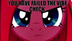 Size: 1280x720 | Tagged: safe, pinkie pie, angry, caption, close-up, impending doom, looking at you, meme, pinkamena diane pie, text, this will end in death, this will not end well, vibe check