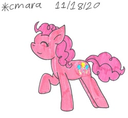 Size: 964x888 | Tagged: safe, artist:cmara, pinkie pie, earth pony, pony, eyes closed, female, mare, raised hoof, simple background, solo, traditional art, white background