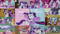 Size: 1280x720   Tagged: safe, edit, edited screencap, editor:quoterific, screencap, alula, applejack, big macintosh, carrot top, fluttershy, golden harvest, noi, opalescence, pluto, rarity, twilight sparkle, alicorn, unicorn, a canterlot wedding, all bottled up, dragonshy, fame and misfortune, friendship is magic, it isn't the mane thing about you, look before you sleep, simple ways, the last roundup, basket, bouquet, bouquet of flowers, collage, female, flower, fluttershy's cottage (interior), golden oaks library, lesbian, nest, picnic basket, picnic blanket, rarilight, shipping, twilight sparkle (alicorn), unicorn twilight