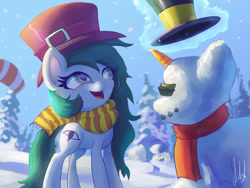 Size: 1280x960   Tagged: safe, artist:raikoh, oc, oc only, oc:kinesis, carrot, clothes, food, hat, magic, scarf, snow, snowpony, solo, telekinesis, this will end in life, top hat, winter