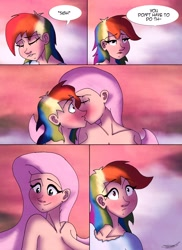 Size: 2978x4096 | Tagged: safe, artist:ringteam, fluttershy, rainbow dash, human, blushing, comic, eyes closed, female, flutterdash, humanized, kissing, lesbian, shipping, speech bubble