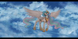 Size: 3500x1765 | Tagged: safe, artist:ventious, princess celestia, alicorn, pony, cloud, dutch angle, female, letterboxing, looking up, mare, sky, solo, spread wings, water, wings, wip