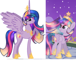 Size: 1500x1184 | Tagged: safe, princess celestia, twilight sparkle, oc, oc:princess solar sparkle, alicorn, pony, fusion, twilight sparkle (alicorn)