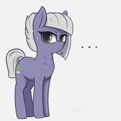 Size: 1740x1740 | Tagged: safe, artist:t72b, limestone pie, earth pony, pony, ..., blushing, cute, female, frown, glare, lidded eyes, limabetes, looking at you, mare, simple background, solo, sweat, sweatdrop, white background