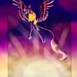 Size: 5800x5800 | Tagged: safe, artist:florarena-kitasatina/dragonborne fox, hippogriff, absurd resolution, cel shading, crossover, hippogriffized, how even, shading, signature, sunset, watermark, yo-yo, yuuki (little buster q)