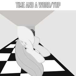 Size: 2000x2000 | Tagged: safe, artist:grapefruitface1, artist:tardifice, fluttershy, pony, album cover, checkered floor, monochrome, ponified, ponified album cover, progressive rock, solo, surreal, vector used, yes, yes (band)