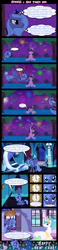 Size: 1176x5099 | Tagged: safe, artist:bigsnusnu, princess celestia, princess luna, twilight sparkle, alicorn, unicorn, comic:dusk shine in pursuit of happiness, bed, blushing, clock, coin, dusk shine, fireworks, half r63 shipping, moon, new years eve, rule 63, s1 luna, shipping, tree