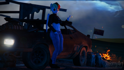 Size: 3840x2160 | Tagged: safe, artist:phenioxflame, rainbow dash, pegasus, anthro, 3d, australia, bra, campfire, car, clothes, ear piercing, jacket, jeans, leaning, looking at you, mad max, pants, piercing, smoking, source filmmaker, underwear