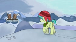 Size: 1280x720 | Tagged: safe, artist:johnerose126, sandbar, pony, implied yonabar, snow, solo, yakyakistan
