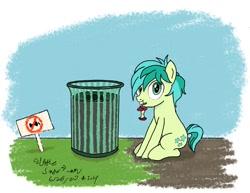 Size: 1112x859 | Tagged: safe, artist:johnerose126, sandbar, pony, apple core, mouth hold, solo, trash can