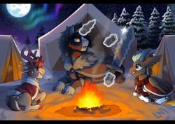 Size: 1170x830 | Tagged: safe, artist:lastnight-light, oc, oc only, oc:forge, oc:holly, oc:pallas pommel, deer, pony, reindeer, unicorn, fire, horns, sword, tent, weapon