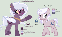 Size: 4944x2976 | Tagged: safe, artist:lominicinfinity, oc, oc only, oc:moon dust, oc:starlight night, bat pony, pony, female, male, mare, reference sheet, simple background, teenager