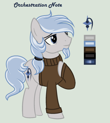 Size: 1120x1248 | Tagged: safe, artist:lominicinfinity, oc, oc:orchestration note, earth pony, pony, clothes, male, reference sheet, simple background, solo, stallion, sweater