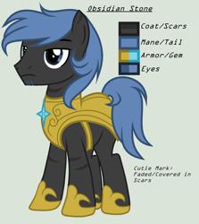 Size: 1664x1864 | Tagged: safe, artist:lominicinfinity, oc, oc:obisidian stone, pony, armor, male, royal guard armor, simple background, solo, stallion