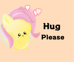 Size: 1800x1500 | Tagged: artist needed, safe, fluttershy, pegasus, pony, bronybait, chibi, cute, female, heart, mare, orange background, shyabetes, simple background, solo, text