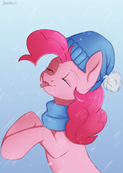 Size: 2894x4093 | Tagged: safe, artist:chickenbrony, pinkie pie, earth pony, pony, clothes, eyes closed, snow, snowflake, solo, tongue out, winter outfit