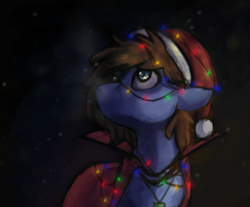 Size: 1240x1028 | Tagged: safe, oc, oc only, oc:bizarre song, pegasus, pony, broken horn, cape, christmas, christmas lights, clothes, hat, holiday, horn, jewelry, looking up, male, messy mane, necklace, night, santa hat, snow