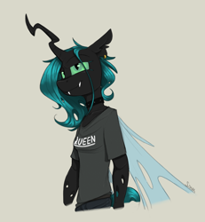 Size: 1200x1300 | Tagged: safe, artist:sinrar, queen chrysalis, changeling, changeling queen, anthro, clothes, ear piercing, earring, female, gray background, jewelry, piercing, shirt, simple background, smiling, solo, t-shirt