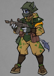 Size: 2480x3508 | Tagged: safe, artist:tass_the_bovine, earth pony, pony, anthro, unguligrade anthro, alternate timeline, alternate universe, dieselpunk, dieselpunk equestria, gun, outfit, shock trooper, solo, weapon, yakponia, yakponian