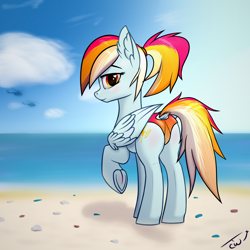 Size: 3000x3000 | Tagged: safe, alternate version, artist:colourwave, oc, oc:colourwave, pegasus, pony, beach, bedroom eyes, blushing, butt, clothes, cloud, dock, female, frog (hoof), heart, heart eyes, helicopter, holiday, looking at you, looking back, looking back at you, mare, panties, pegasus oc, sky, smiling, solo, underhoof, underwear, water, wingding eyes, wings