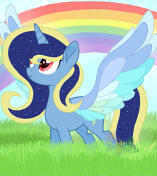 Size: 1997x2248 | Tagged: safe, artist:pure-blue-heart, oc, alicorn, pony, colored wings, female, mare, multicolored wings, rainbow, solo, wings