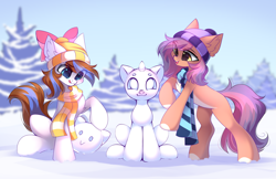 Size: 4777x3100   Tagged: safe, artist:airiniblock, oc, oc only, pony, beanie, bow, chest fluff, clothes, commission, cute, happy, hat, pale belly, rcf community, scarf, snow, snowpony, white belly, winter