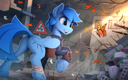 Size: 2350x1470 | Tagged: safe, artist:yakovlev-vad, oc, oc only, butterfly, pegasus, pony, fallout equestria, bag, bandage, butt, clothes, cute, eyebrows, eyebrows visible through hair, fallout equestria oc, folded wings, frog (hoof), patreon, patreon reward, pipbuck, plot, raised hoof, saddle bag, solo, underhoof, vault suit, wings