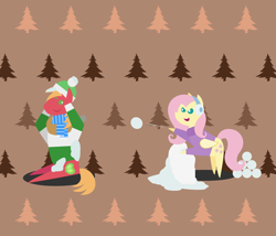 Size: 2520x2160 | Tagged: safe, anonymous artist, big macintosh, fluttershy, earth pony, pegasus, pony, series:fm holidays, series:hearth's warming advent calendar, abstract background, advent calendar, bipedal, bipedal leaning, christmas, clothes, earmuffs, female, fluttermac, holiday, leaning, lineless, male, one eye closed, pointy ponies, scarf, shipping, snow, snowball, snowball fight, straight, sweater, turtleneck, winter outfit